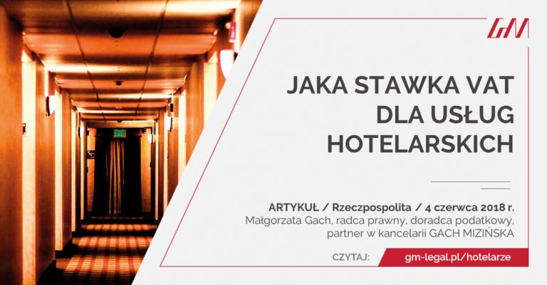 VAT dla usług hotelarskich